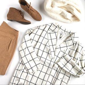 Sugarlips Windowpane Wool-blend Cream Coat
